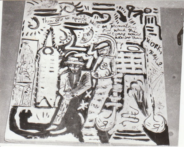(E-E) Evgenij Kozlov Я-Я / YA-YA. Mixed media, canvas, approx. 90 x 80 cm, 1985 oder 1986.