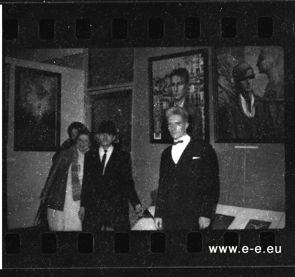 E-E-pho-AF72 Right wall: two portraits by Sergey Sergeev: Portrait of Timur Novikov and Self-Portrait with Timur Novikov and Georgy Guryanov,  photo: (E-E) Evgenij Kozlov, March / April 1985