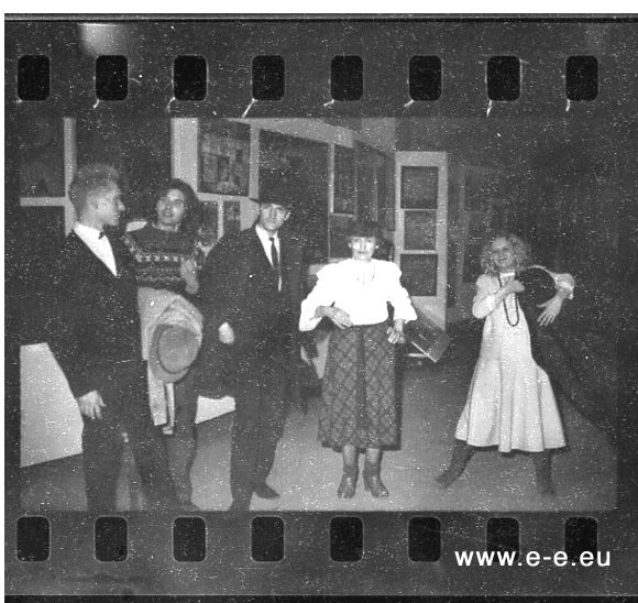 E-E-pho-AF82 Georgy Guryanov, Kirill Khazanovich, Timur Novikov, unknown, Alena (Valentina Sergeeva) photo: (E-E) Evgenij Kozlov, March / April 1985
