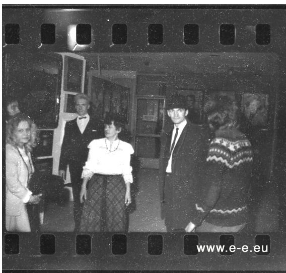 E-E-pho-AF83 Alena (Valentina Sergeeva), Georgy Guryanov, unknown, Timur Novikov, Kirill Khazanovich, photo: (E-E) Evgenij Kozlov, March / April 1985